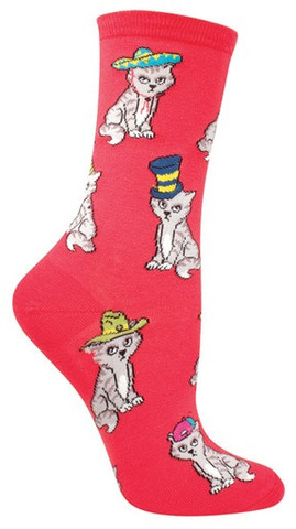 Socksmith_Socks_Cats_in_Hats_Coral_1a2285a2-883e-4377-8164-9957f3382562_large
