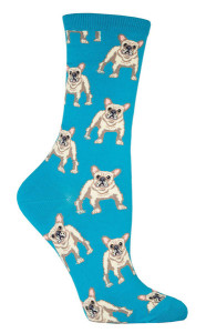Socksmith_Frenchie_womens_crew_socks_lagoon_Sockdrawer.com_pups_grande