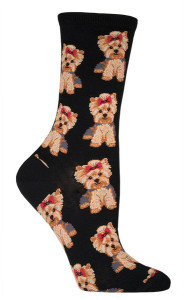 Socksmith_Yorkies_womens_crew_socks_black_Sockdrawer.com_puppy_grande