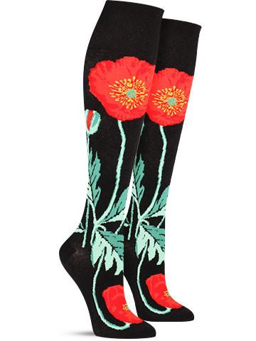 Bold Poppies Knee High Socks