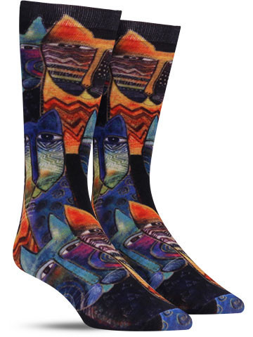 Laurel Burch | Primitive Cat Socks | Men's