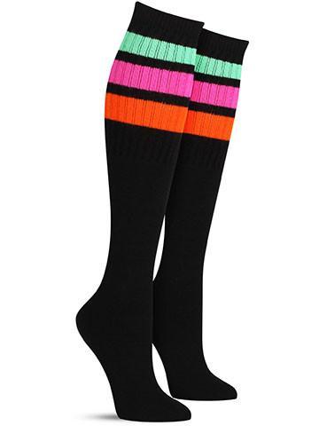 Black with Neon Green, Pink, Orange Stripes