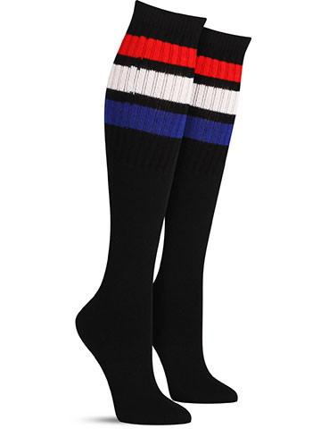 Black with Red, White, Blue Stripes