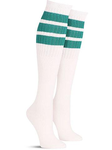 White with Teal Stripes