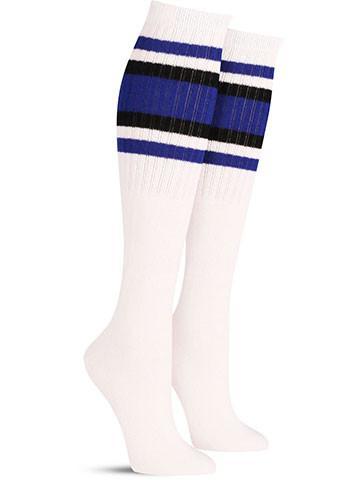 White with Black & Blue Stripes