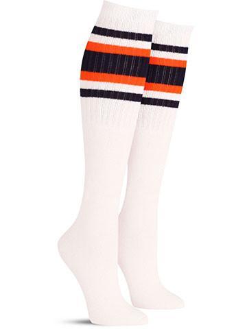 White wtih Navy & Orange Stripes