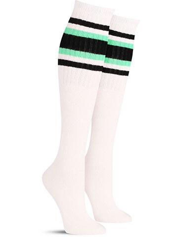 White with Black & Green Stripes