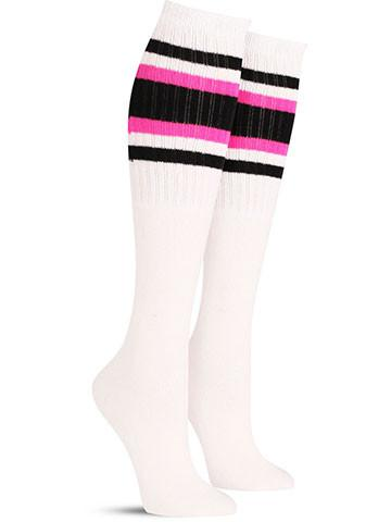 White with Black & Pink Stripes
