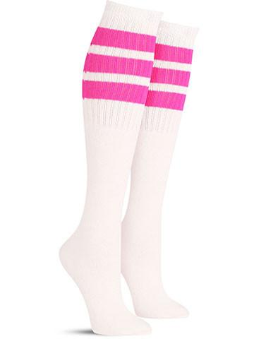 White with Pink Stripes