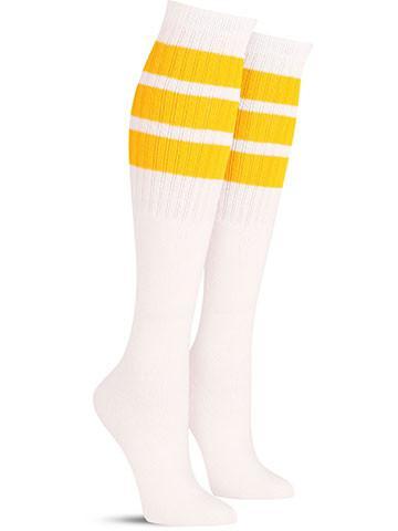 White with Yellow Stripes