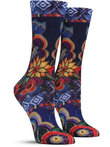 Laurel Burch | Cat With Flower Socks