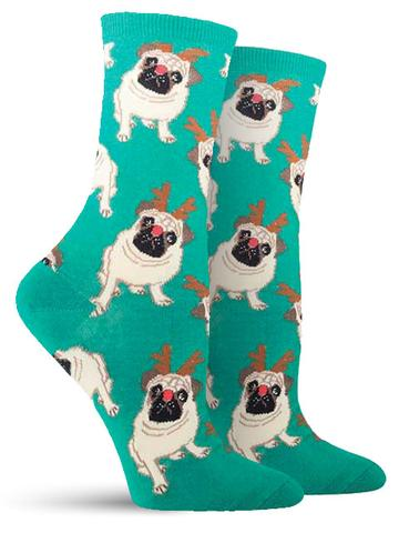 Antler Pug Christmas Socks