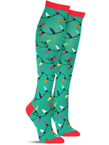 christmas lights knee high socks