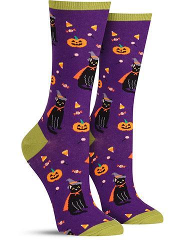 Halloween Witch Cat Socks | Women's