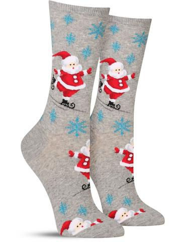 Skating Santa Christmas Socks | Women's