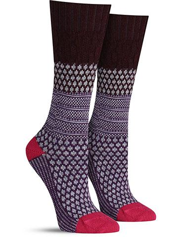 Popcorn Cable Crew Wool Socks