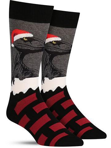 Christmas Raptor Claus Socks | Men's