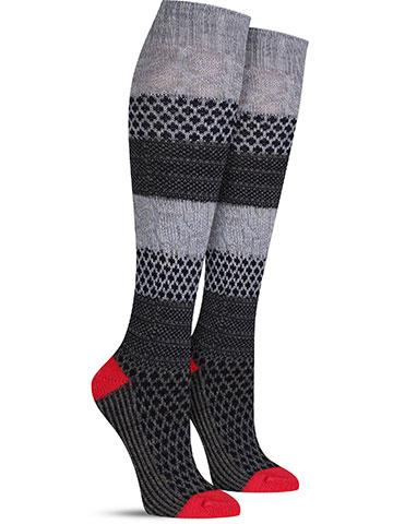 Popcorn Cable Knee High Wool Socks