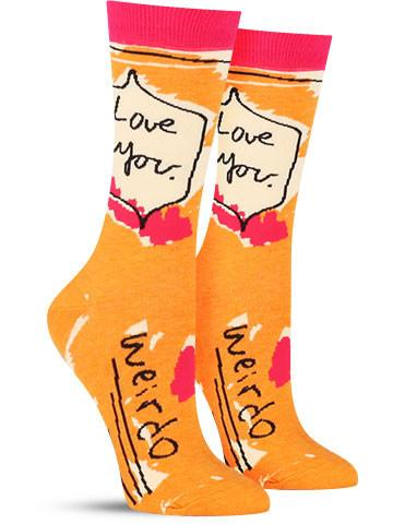Love You. Weirdo. Socks