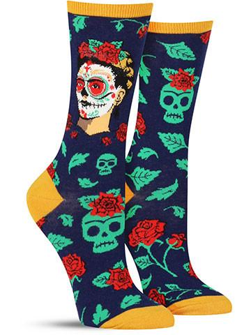 00c77f9312b Blue Dia de los Muertos socks with Frida Kahlo s portrait