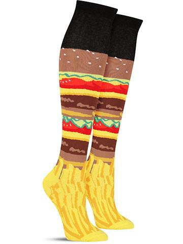 Burger and Fries Knee High Socks