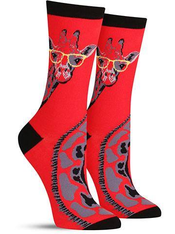 Women's Giraffe with Glasses Socks