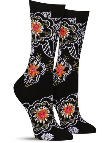 Laurel Burch Black & White Florals Socks