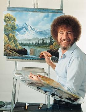 Painter Bob Ross working on a mountain landscape
