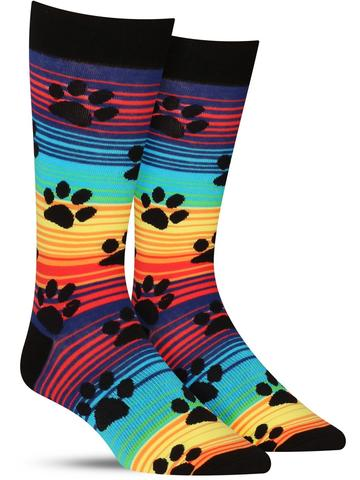 Rainbow Stripe Paw Prints Socks