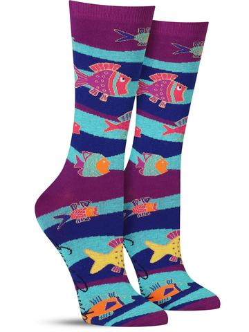 Laurel Burch Fish and Waves Socks