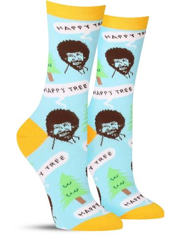 Women's Happy Tree Socks - Blue