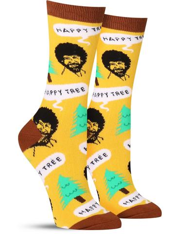 Women's Happy Tree Socks - Gold