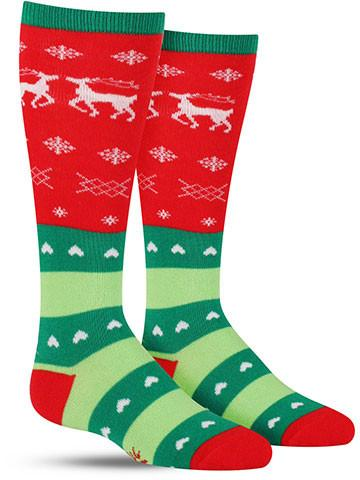 Tacky Holiday Sweater Knee High Socks