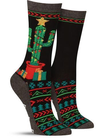 Christmas Cactus Non-Skid Socks