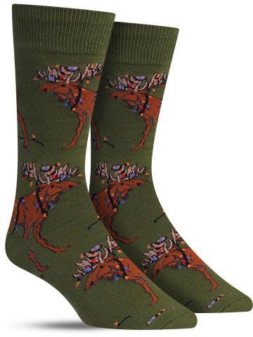 Men's Christmas Lights Moose Socks