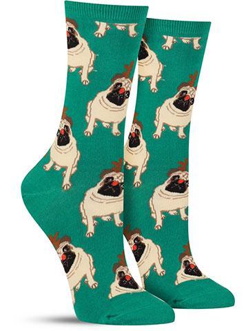 Women's Antler Pug Socks
