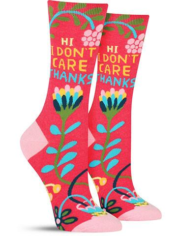 Women's Hi. I Don't Care. Socks
