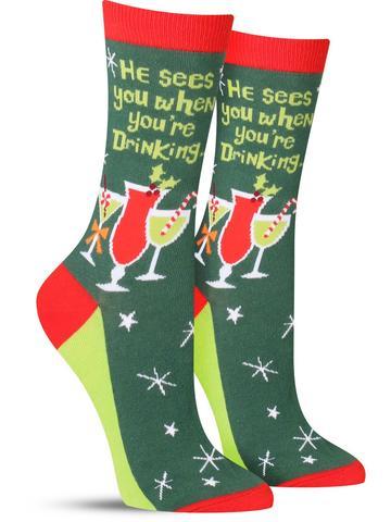 Women's Santa Knows Christmas Socks