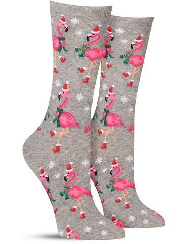 Women's Santa Flamingos Christmas Socks
