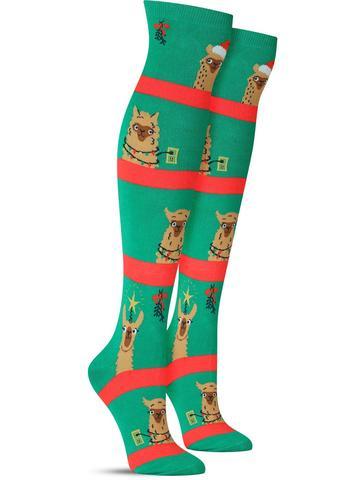 Women's Fa La La Llamas Christmas Knee High Socks
