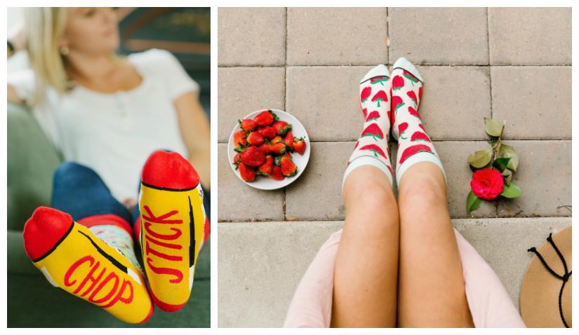 Women wearing fun novelty socks featuring chopsticks and strawberries