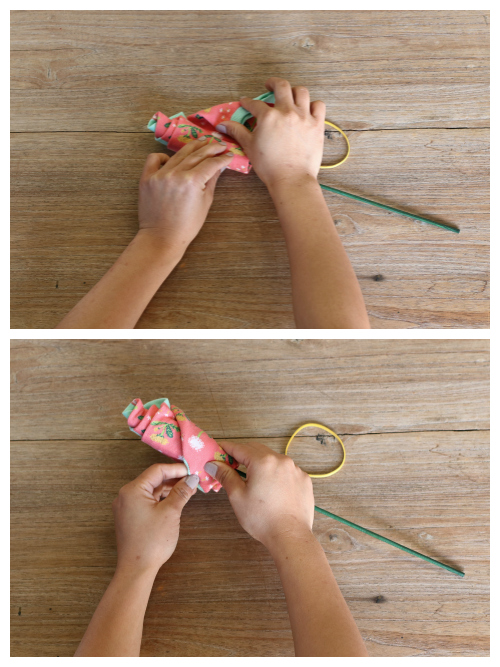Step 2 of making a sock flower
