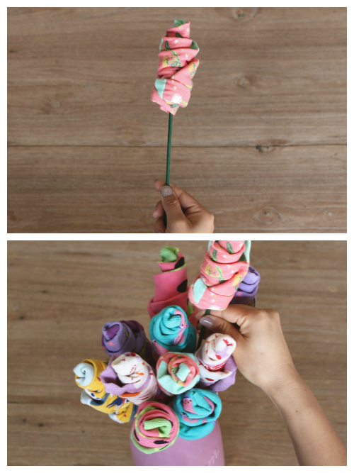 Step 4 of making a sock flower