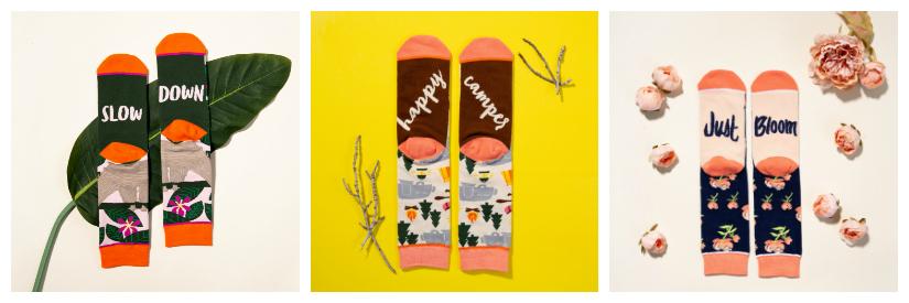 Cute novelty socks with fun words on the bottom